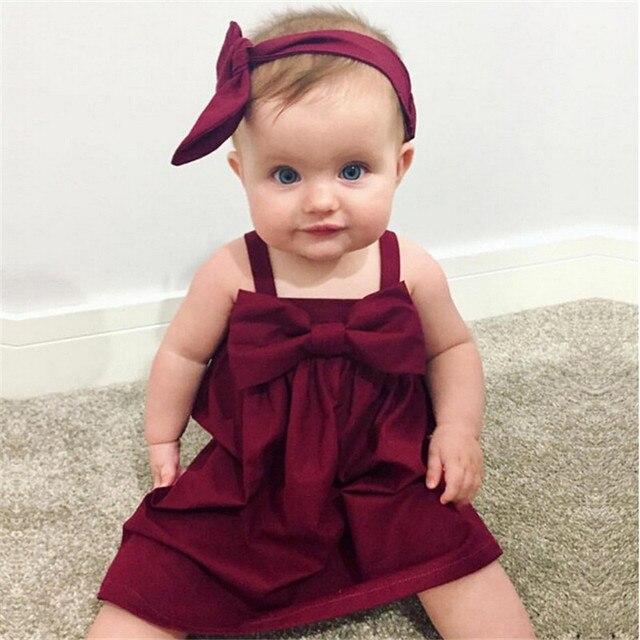 3036cefa5 pudcoco 0 3T Newborn Baby Girls vintage red Dress Kids Baby Party ...