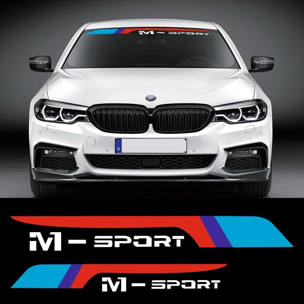 Car styling m sport 2018 front rear windscreen windshield window sticker decal for bmw e46 e39 e90 e60 f30 f31 m5 g3o z4 e85 x5