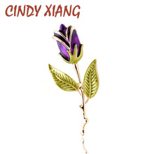 CINDY XIANG 2 Colors Choose Enamel Flower Brooches for Women Gold Color Plated Rose Pins Brooch High Quality Simple Design Gift