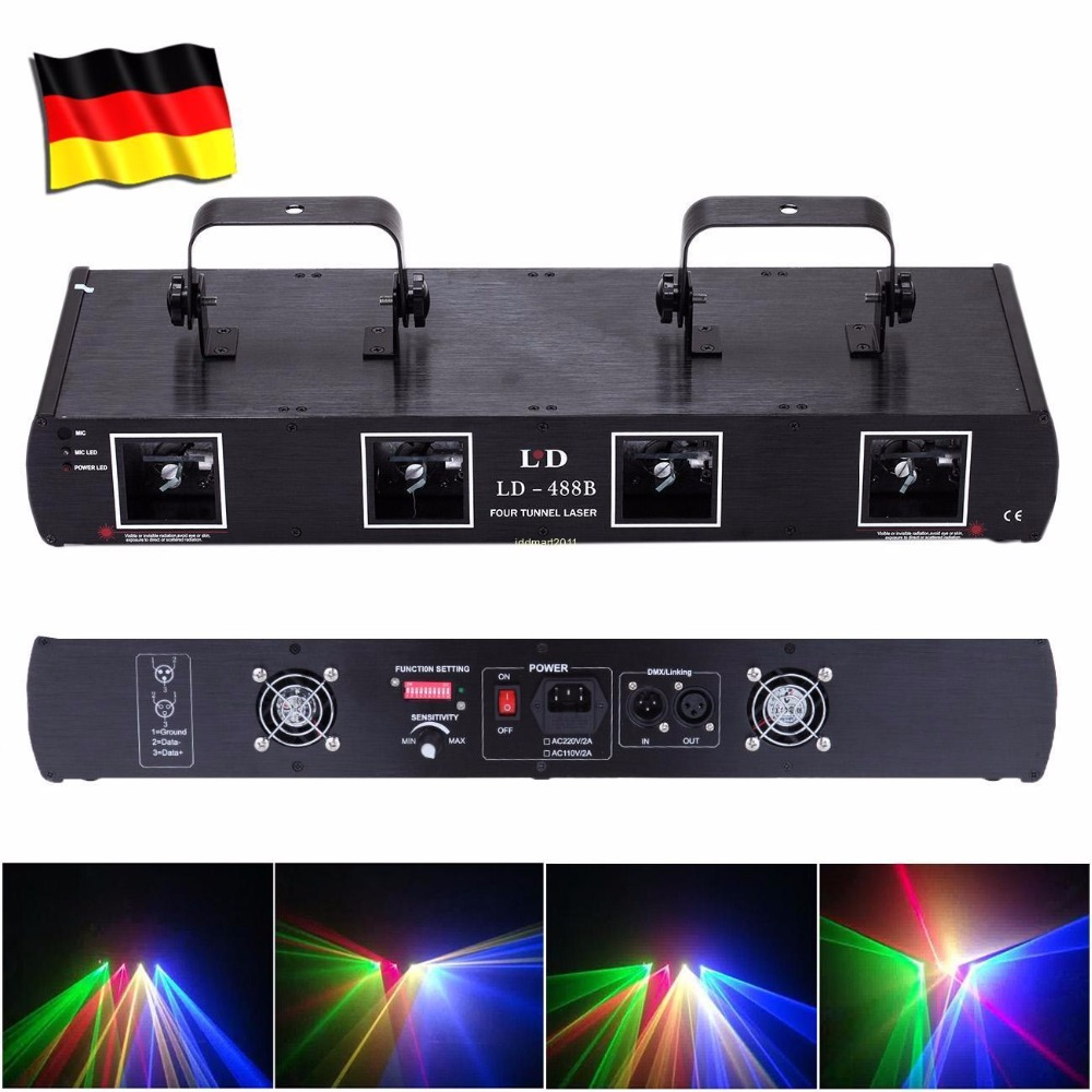 (Ship from EU) DJ Laser Light DMX 760mW RGYB 4 Lens Beam 7CH Stage Disco Party Lighting Show rg mini 3 lens 24 patterns led laser projector stage lighting effect 3w blue for dj disco party club laser