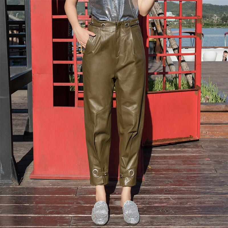 2019 коричневые зеленые настоящие кожаные зауженные брюки женские Harajuku уличная высококачественный, из овчины кожаные брюки женские большие размеры S 4XL - 5