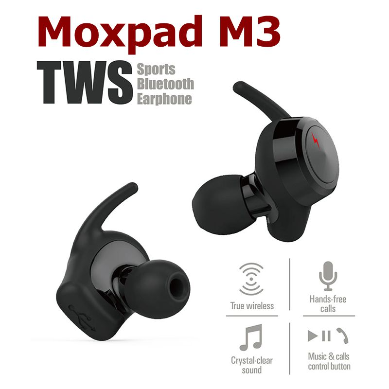 Original Moxpad M3 Mini Bluetooth Sports Earphones True Wireless Double Ear Headphones Hands Free Music Phone Calls Headset Hot smallest music phone calls hands free stereo bluetooth mini earphone headset for iphone 7 6 6 plus 5s 5c galaxy s5 note 3 4