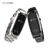 Mijobs Stainless Steel Strap Plus For Xiaomi Mi Band 2 Replacement Accessories Metal Bracelet Watchband Screwless