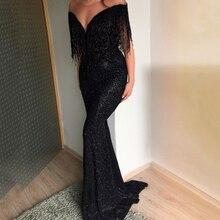 Women Deep V-neck Off Shoulder Long Dress Sexy Slim Sequin Fringe Evening Bride Gowns Harajuku Black Party Dress Plus Size 2019