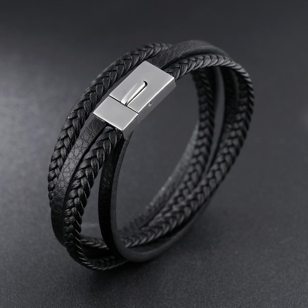 woven Leather bracelet Trendy personality snap men's bracelet, handmade braided bracele for men 21cm chic faux leather woven bracelet for men
