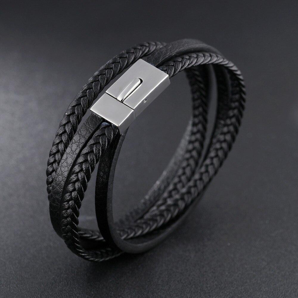 все цены на woven Leather bracelet Trendy personality snap men's bracelet, handmade braided bracele for men 21cm