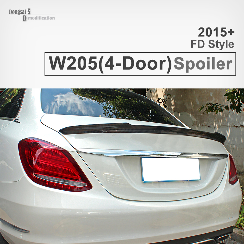 W205 FD style carbon fiber Gloss black car styling rear trunk lip spoiler wings for C class w205 4-door 2015+ vehicle