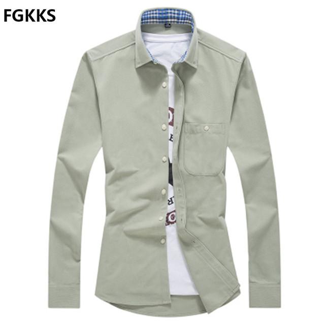 2017 hot casual camisa dos homens da marca clothing cor sólida longo Camisa Masculina de manga comprida Moda Slim Fit Camisas de Vestido Dos Homens Livres grátis