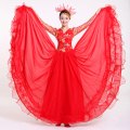 Large Dress Women Chorus Costume Lady Stage Dancing Dress with Headwear Red National Costume Girl Performance Clothes 16