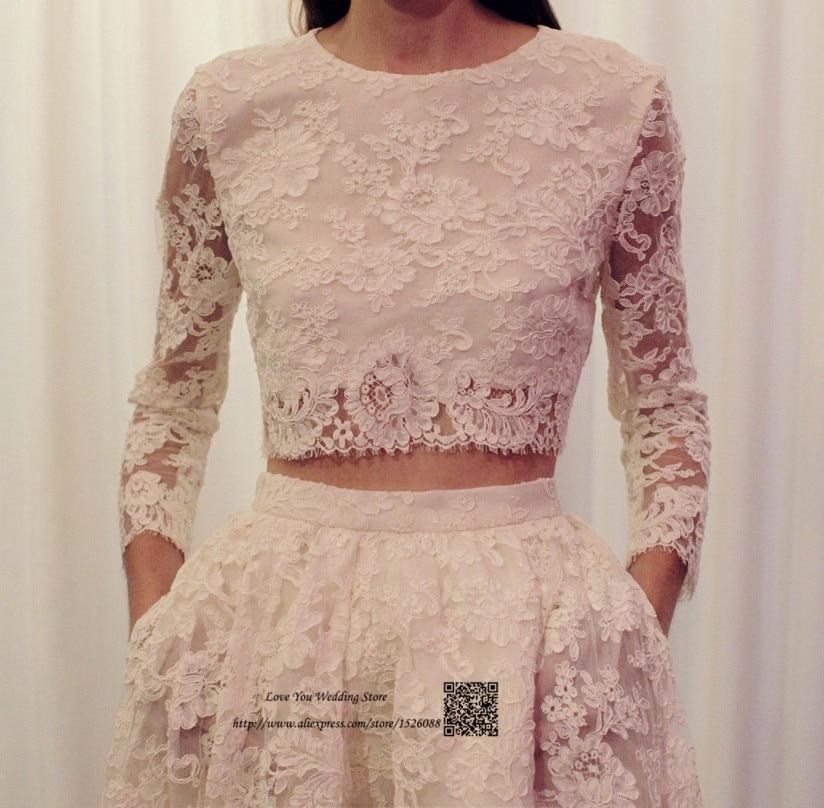 86ff9e6314 Wysoki Niski Suknie Ślubne Boho Dwuczęściowy Koreański Suknie Ślubne  Koronki ślubnej Sukni Z Długim Rękawem Krótki Przód Długi Powrót Robe de  Mariage w ...