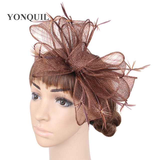 e839384674af7 Brown Vintage Wedding Dresses Women Summer Linen Evening Hat Elegant Ladies  church Hats With Feather Spring