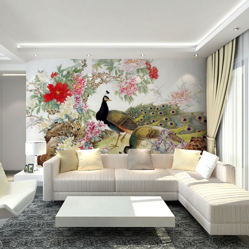 photo wallpaper 3D custom mural wallpaper TV backdrop sofa bedroom living room wallpaper the Chinese peacock peony mural free shipping chinese ink classical retro wallpaper mural living room tv room wallpaper