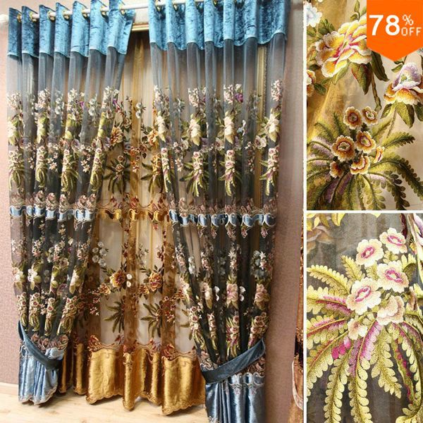 Drapery d colors flowers embroidery eyelet finished