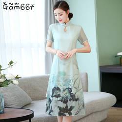 2019 Для женщин ежедневно новые летние длинные Qipao живописи цветок китайский платье Чонсам с шелковыми принтами традиционное китайское