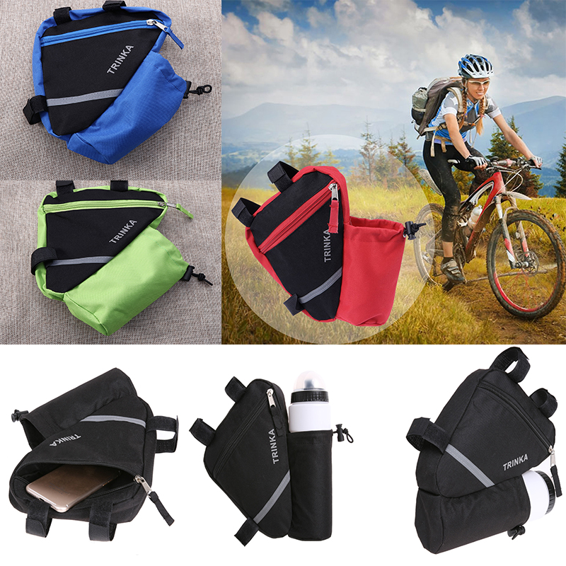 Cycling Bicycle Storage Bag Triangle Frame Pouch MTB Bag with Kettle Holder