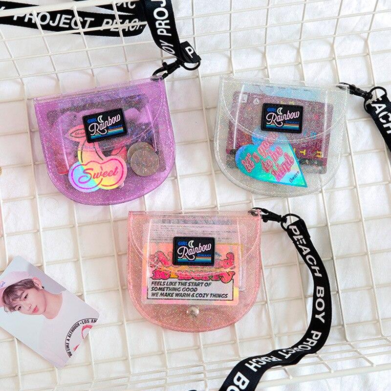 Bentoy  Transprent Jelly Neck Wallet Halter Pink Girl Coin Purse Japan Korea Letter Card Holder Bag Clutch Women Milkjoy Wallet