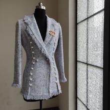 [No badge] 2019 Spring Autumn Winter Women Elegant Tweed Woolen Coats Tassel Pea
