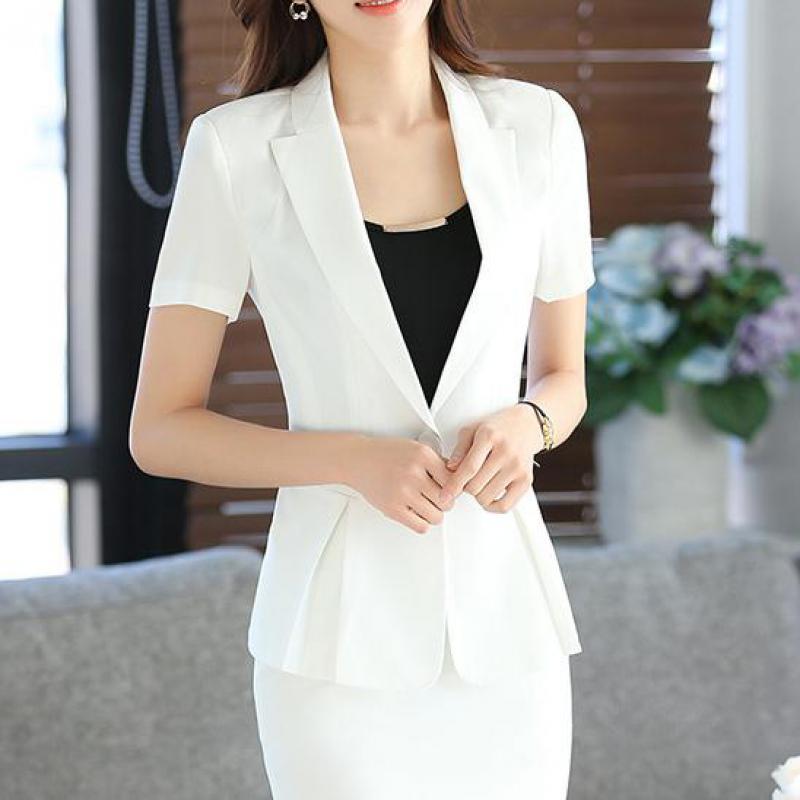 2017 Neue Dünne Sommer Frauen Kurzarm Blazer Arbeiten Büro Dame Business Kerb Outwear Tops Casual Weiß Elegante Mantel Jacke