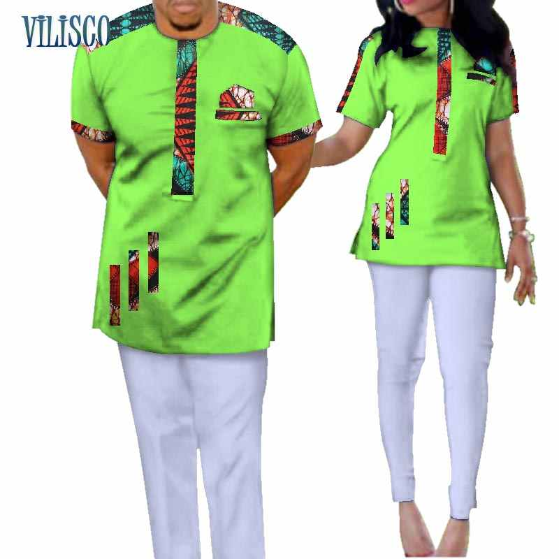 ac32405f15 ... Traditional Bazin Riche African Print Patchwork Top and Pants Sets for Couple  Clothing 2 Pieces Sets