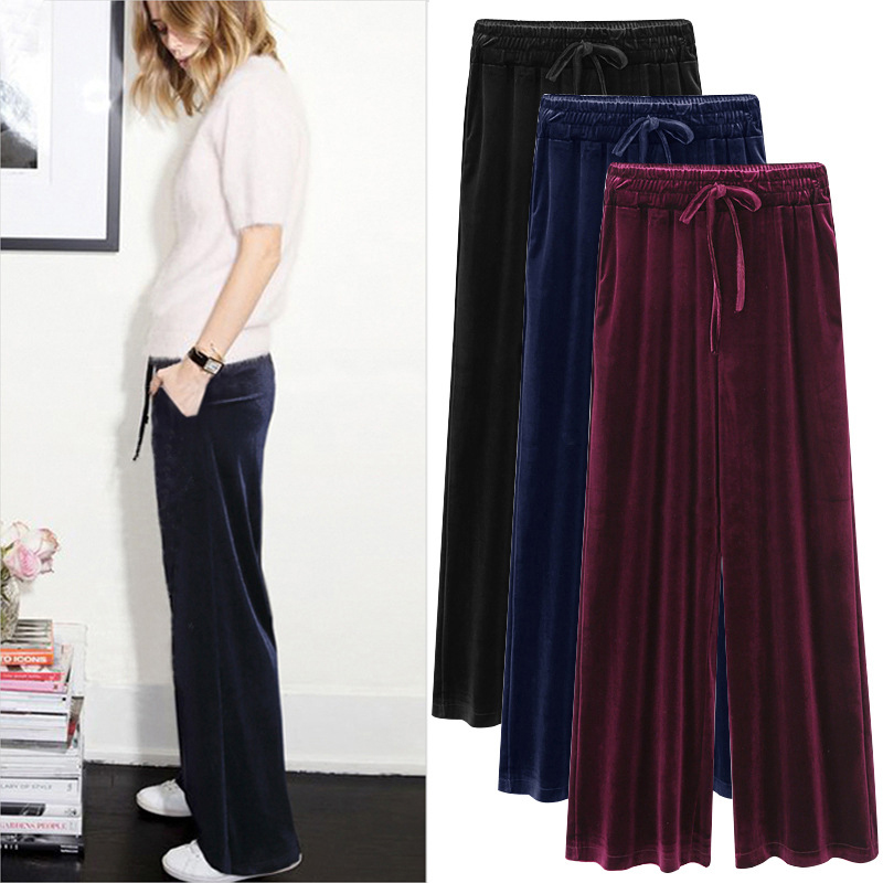 New  Autumn Winter New Gold Velvet Wide Leg Women Long Pants Lace Up Loose Elastic Waist Woven High Waist Fashion Casual Female