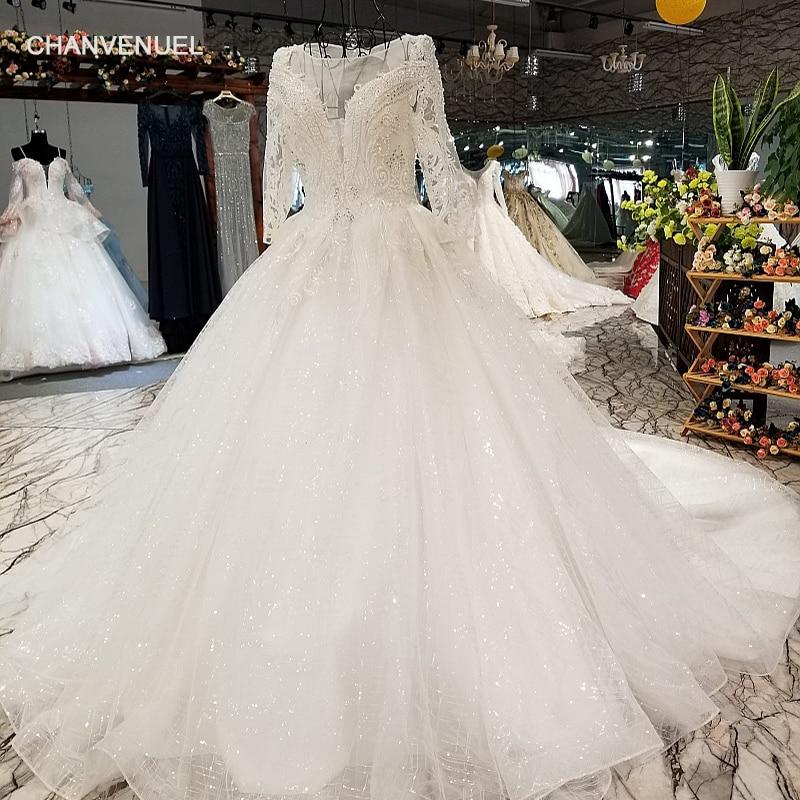 LS84440 manga longa do vestido de casamento com frisos e lantejoulas o pescoço organza nupcial do vestido de casamento 2018 com trem longo como fotos