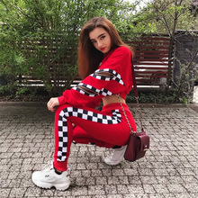Women 2 Pieces Sets Red Color Hoodies Sweatpants Fashion Female Slim Pullover Top+ Pants Side Plaid Tracksuit S-XL set