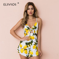 ELSVIOS Floral Print Striped Cut Out Knot Bow Women Rompers Summer Backless Sexy Jumpsuit Casual Beach