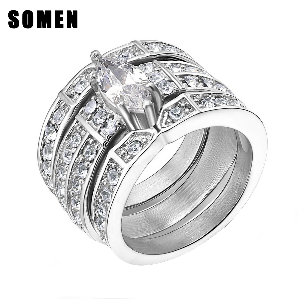 39c00566bd6b3 3pcs Set Stainless Steel Women Silver Wedding Ring Set White Cubic Zirconia  Marquise Style Band anillos acero inoxidable mujer