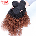 8A Ombre Human Hair 3Pcs Brazilian Kinky Curly Virgin Hair Two Tone 1b/30 Ombre Human Hair Extensions Sunny Queen Hair Products
