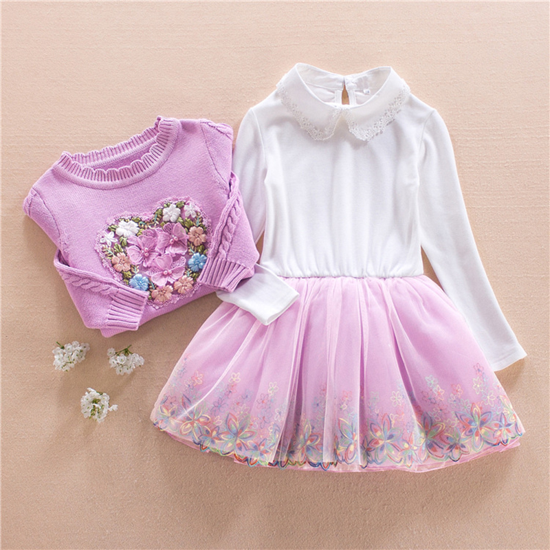 Children Clothing Set Girls School Dress Set Cotton Sweater Coat and Lace Dress for Baby  Spring\autumn Princess Floral 3Y-9Y