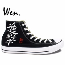 Wen Hand Painted Anime Shoes Design Custom Attack on Titan High Top Men Women's Black Canvas Sneakers for Birthday Gifts