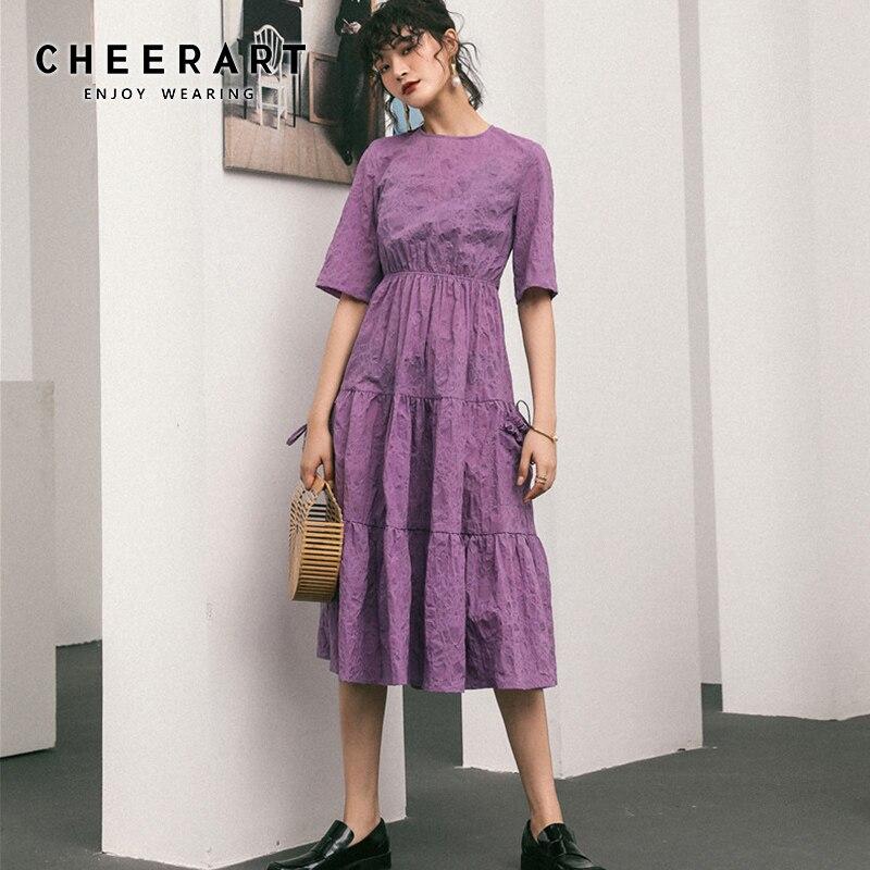 Женское платье миди Cheerart, фиолетовое платье с драпировкой и коротким рукавом, плиссированное платье средней длины, одежда для лета, 2019 Платья      АлиЭкспресс