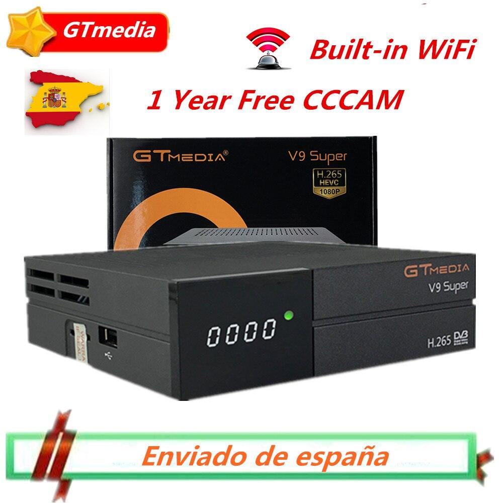 Récepteur Super Satellite GTMedia V9 DVB-S2/S H.265 WiFi intégré + 1 an espagne Europe Cccam de Freesat V8 Super récepteur