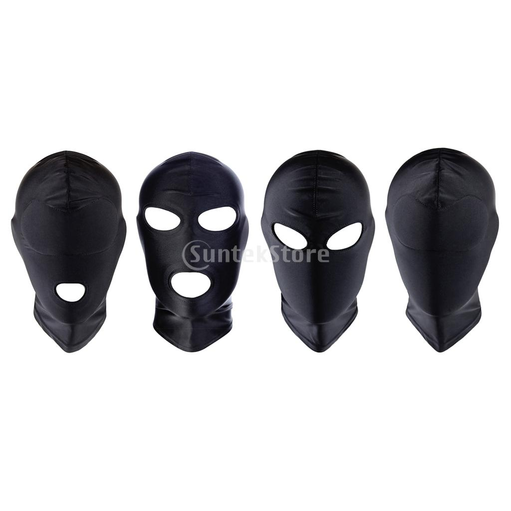 Unisex Breathable Face Cover Spandex Open Eye Mouth Hood Mask Zentai Costume