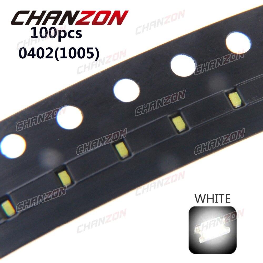 100 pcs LED SMD 0402 (1005) branco 9000 K 20mA 3 V Lâmpada Contas Chip LEVOU Diodo Emissor de Luz de Montagem Em Superfície SMT Componentes Eletrônicos