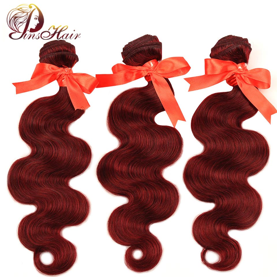 Pinshair Pre-Colored Burgundy Red Bundles 99J Malaysian Hair 3 Bundles Body Wave Cheap Human Hair Weft Extensions Non-Remy Hair ...