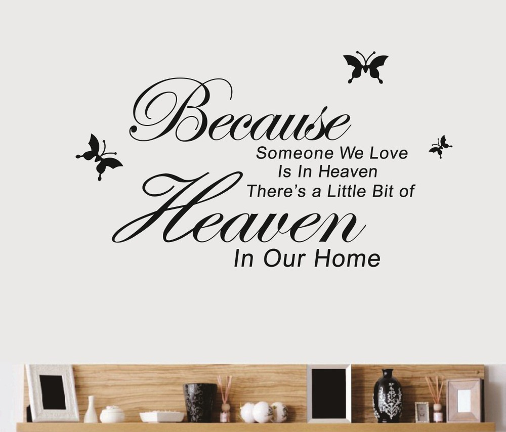 Wall Quotes Sticker Because Someone in Heaven Vinyl Wall Sticker HIGH QUALITY