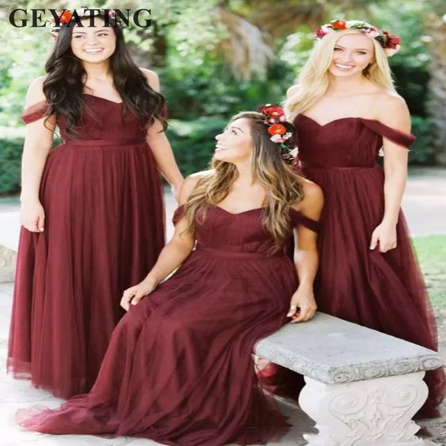 3d776b8d46 Burgundy Long Bridesmaid Dresses 2018 Off the Shoulder Country Beach Wedding  Party Guest Dresses Tulle Maid of Honor Dress Cheap