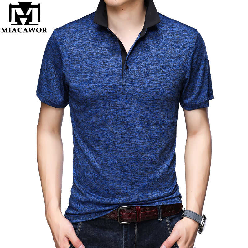 Miacawor Originele Mannen Polo Shirts Fashion Solid T-shirt Homme Slim Fit Camisa Korte Mouwen Homme Mannen Tops Tees t748