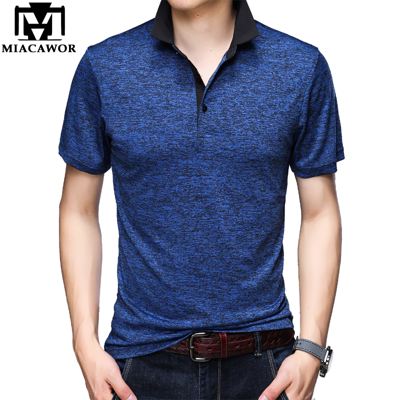 MIACAWOR Original Men  Polo Shirts Fashion Solid Tee Shirt Homme Slim Fit Camisa  Short-sleeve  Homme Men Tops TeesT748