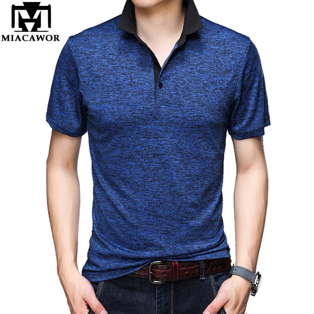 MIACAWOR polos de manga corta para hombre, camiseta lisa a la moda, ajustada, T748