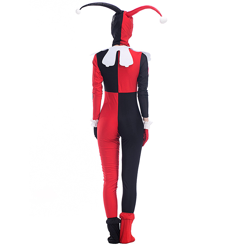 Womens Cartoon Dress Onesie Movie Harley Quinn Clown Cosplay Harley Quinn Costume Halloween Costumes for Women One piece S-XXL