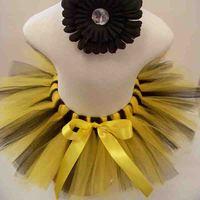 Baby Girls Tutu Skirt Yellow And Black Tulle Skirt Toddler Infant Mini Skirt Baby Birthday Party