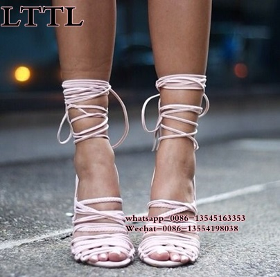 ФОТО 2017 Sexy suede leather Peep Toe High Heels New Sandals Fringe Pumps Lace Up cross-tied Gladiator Runway Party Shoes Women