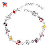 GALAXY Brand 100 925 Silver Bracelet With S925 Stamp Silver Fashion Jewelry Colourful Zircon CZ Charm