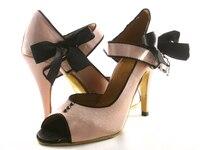 Pink Satin Latin Shoes Dance Women's Ballroom Dancing High Heeled Soft Outsole