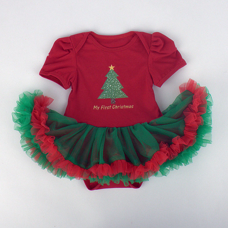 Hot Sale Kid and Infant Christmas Gift With Baby Onesies For Girls Style Cotton O-neck Dress One-piece Fashion Princess Romper