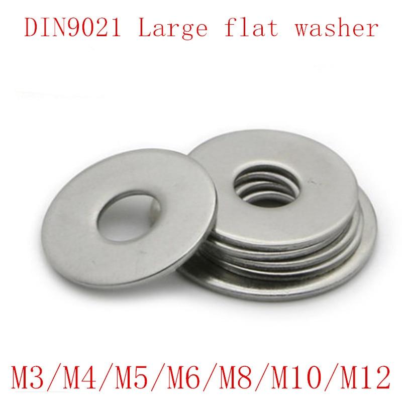 50Pcs  M3  M4 M5 M6 M8 M10 M12  DIN9021 GB96 304/A2-70 Stainless Steel Large Size Flat Washer