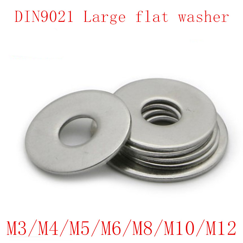50Pcs M3 <font><b>M4</b></font> M5 M6 M8 <font><b>M10</b></font> M12 DIN9021 GB96 304/A2-70 Stainless Steel Large Size Flat Washer image