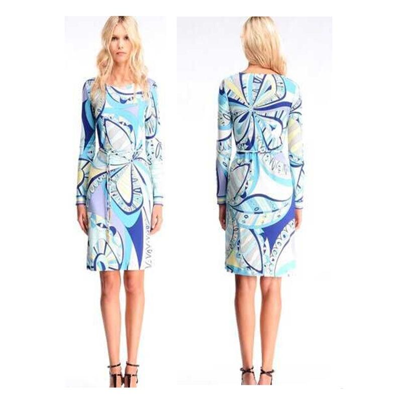 Mode féminine de nouveau fonds automne robe imprimée avec ceinture confortable tissu de soie tricot mince robe Z-1-251